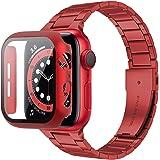 Miimall Compatible con Apple Watch Series 6/SE/5/4 44 mm pulsera con carcasa de PC, ultrafina, de acero inoxidable y metal, c
