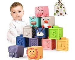 Luclay Bloques Apilables para Bebés 6 Meses 1 2 3 4 años ,Cubos Juguetes Bebe para Masticar la Dentición Juguetes Educativos