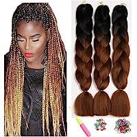 "Kanekalon Ombre Black Braiding Hair 24"",Showjarlly Ombre Jumbo Braid Hair Extension High Temperature Fiber 3pcs/Lot 100g…"