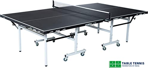 Stag Hobby Line Table Tennis Table Top Thickness 19 mm with Net Set, Table Cover, 2 Racquets and 6 Balls Features Quick Assembly and Play Back Mode