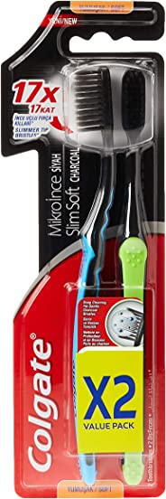 Colgate Toothbrush Slm Soft Chrcl Xs 2 Pack Value Pack ' 12 Units