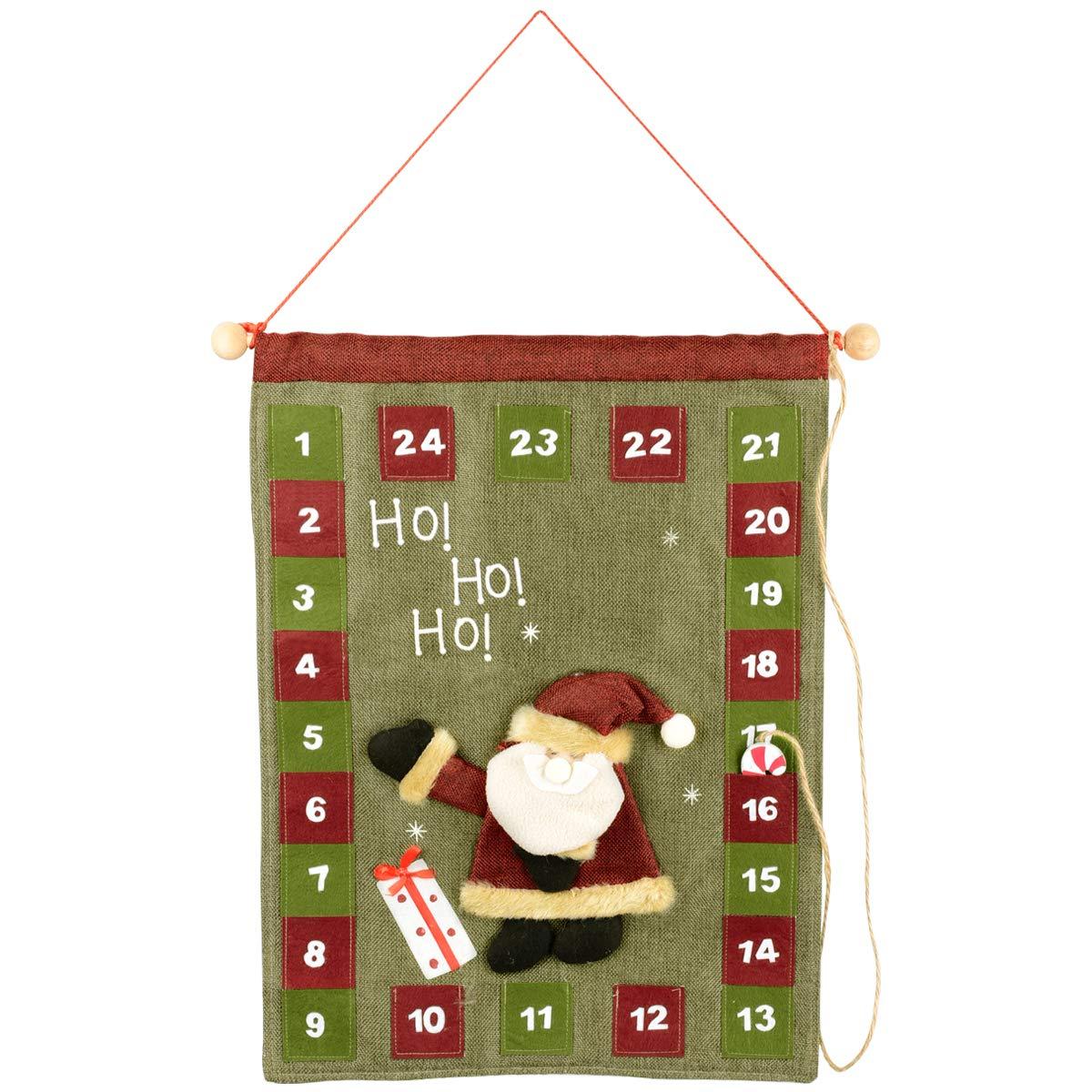 Calendario Countdown.Legendtech Xmas 24 Day Advent Calendar Countdown Wall Hanging Christmas Calendar Decoration Felt Pocket Traditional Merry Christmas Ornament Santa