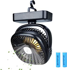 TOMNEW Portable Camping Fan with LED Lights,USB or 4400 mAh Rechargeable Battery Powered, Tent Fan LightsPersonal USB Desk Fan with Hook for