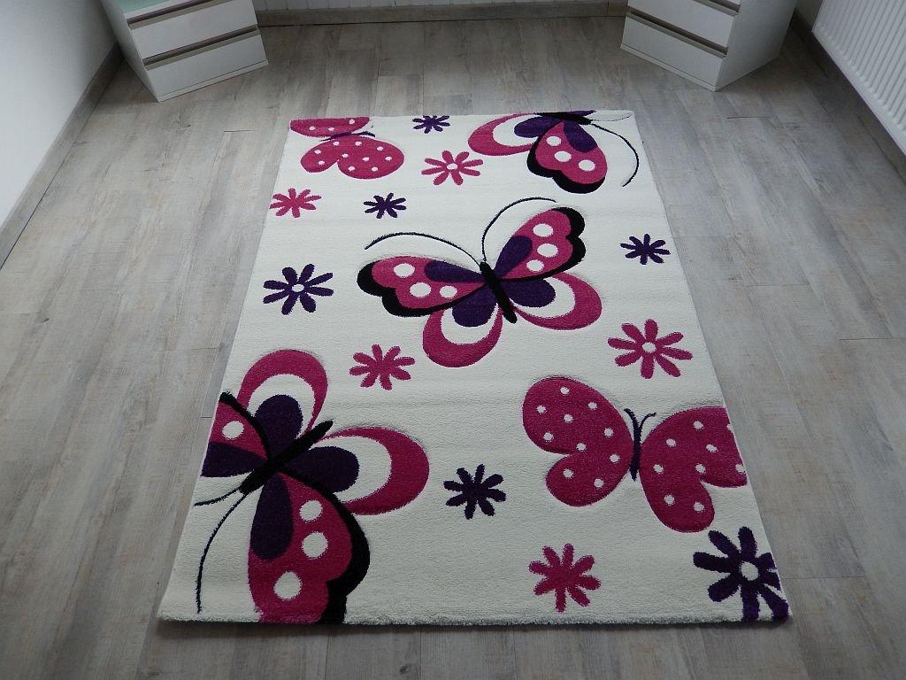 Kinderteppich schmetterling lila  Amazon.de: Kinder Teppich Schmetterling Kinderzimmer Spielteppich ...