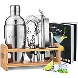 Godmorn Cocktail Shaker Set,14 + 1 Pezzi Kit da Barman in Acciaio Inox,Set di Strumenti Bar,550ml Shaker con Accessori, Suppo