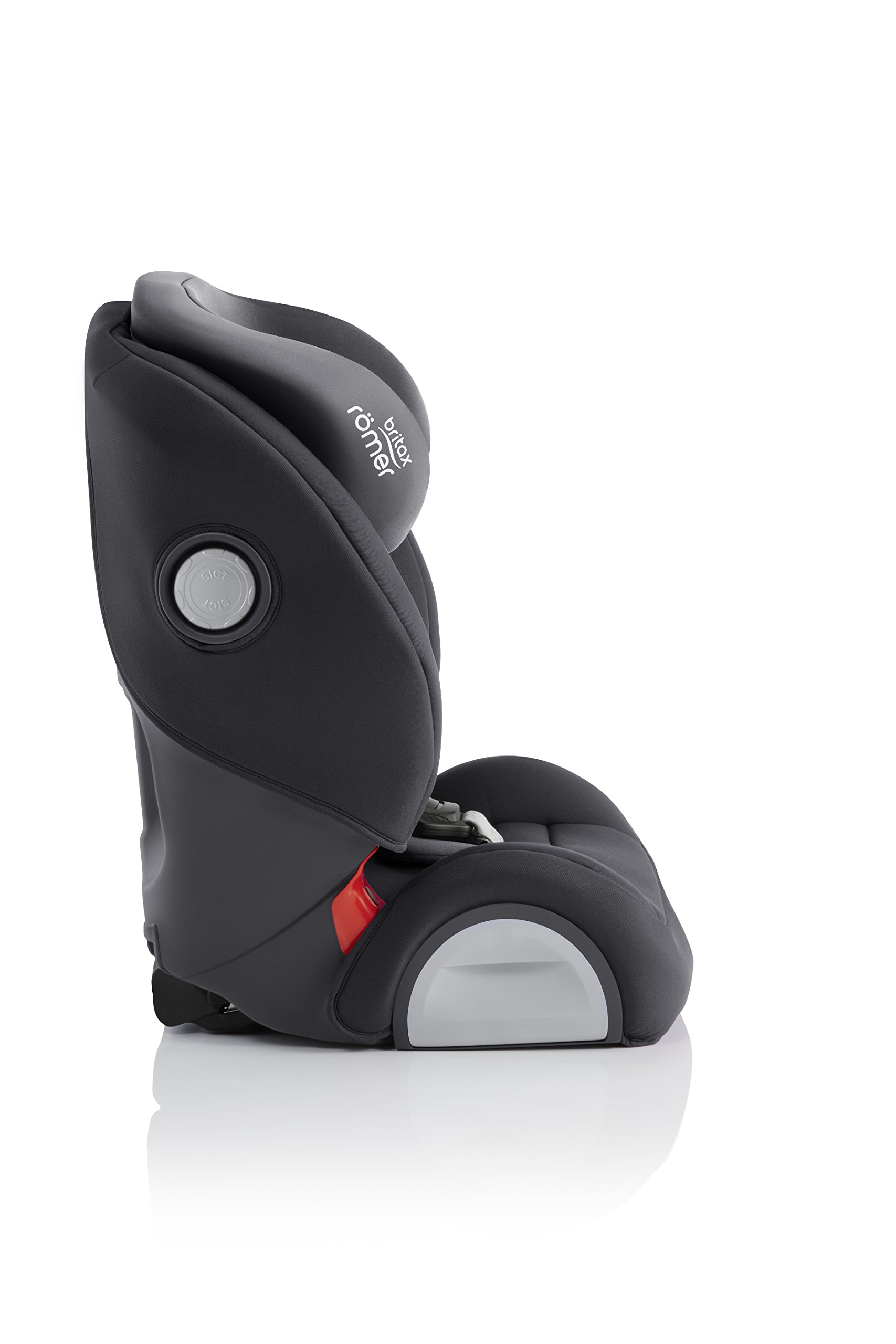 Britax Römer EVOLVA 1-2-3 SL SICT Group 1-2-3 (9-36kg) Car Seat - Storm Grey  Installation, ISOFIX and a 3-point seat belt, or 3-point seat belt only Advanced Side Impact Protection (SICT) minimises the force of an impact in a side collision CLICK & SAFE audible harness system for that extra reassurance when securing your child in the seat 4