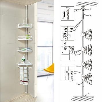 non rust bathroom telescopic corner shelf storage 4 tier shower caddy organiser white
