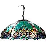 Lampada A Sospensione in Stile Tiffany, Lampadario in Vetro Colorato Romantico Barocco, Bar, Camera da Letto, Lampadario con