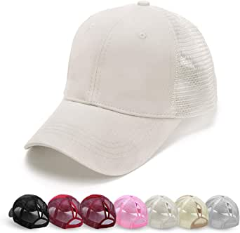 CheChury Womens Cotton Ponytail Baseball Cap Sun Protection Pony Caps Classic Retro Cap Solid Color Adjustable Peaked Cap