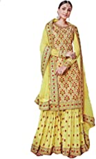Generic Women's Georgette Fabric Embroidered Sharara Suit (LNF118, Yellow, XXXL)