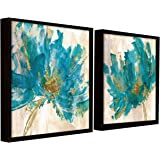 Painting Mantra Floral Art Theme Set of 2 Framed Canvas Painting Art Print - 13x13 Inchs