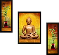 SAF 'Buddha Religious' Painting (Synthetic, 13.5 inch x 22 inch, SA30)