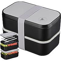 🍎NADOZONE®️ Lunch Box XXL - Bento 2000 ML pour Enfants/Adultes - Etanche Sans BPA - Boite Repas Compartiment Double avec…