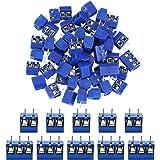 DECARETA 60 PCS 2 Pines(50)/3 Pines(10) Conector Bloque de Terminales de Tornillo de Montaje para Soldar en el Tablero,Conect