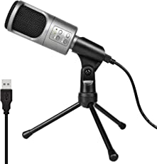 USB Kondensator Mikrofone, Professional Studio Live Stream Broadcast Aufnahmemikrofon mit 3,5 mm Klinke und Stativ, für Mac oder Windows Laptop PC