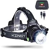 KINGTOP LED Stirnlampe Wasserdicht USB Wiederaufladbare LED Kopflampe, 3 Lichtmodi 600lm, Perfekt für Camping,Joggen…