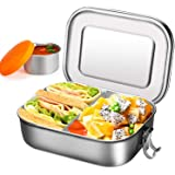 Lunch Box Containers with Compartments - 1400ml Stainless Steel Bento Boxes with Removable Dividers, Salad Dressing Container | Portable Food Organizer Leak-Proof Sandwich Box for Children and Adults