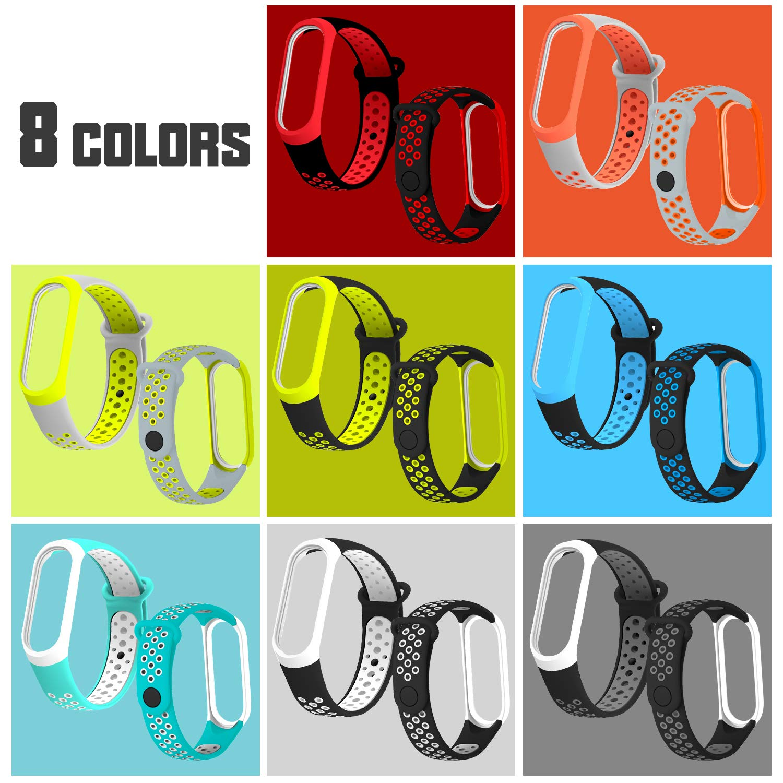 Mi Band 3 8 Pcs Agujero de Aire Transpirable Colorido Suave Silicona Bracelet de Repuesto Deportivo Th-some Correa para Xiaomi Mi Band 4 Correa de Silicona Suave Reemplazable Pulsera