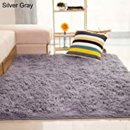 Bath Rugs lansiZD, Home Living Room Bedroom Floor Carpet Mat Soft Anti-Skid Rectangle Area Rug - Silver Gray 80 * 120cm