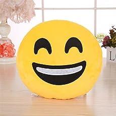 Triad basics Plush Happy Face Emoji Cushion Pillow Soft Toy, 35cm (Yellow)