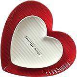 Assiette à Dîner, Vaisselle, Style Européen, Forme de Coeur, Couple Amoureux Assiette Bol Plat (Rouge et Blanc)