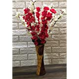 VTMT Petalshue® Artificial Dark Pink & White Blossom Flower Bunch for Home Decor Office | Artificial Flower Bunches for Vase