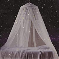 South To East Bed Canopy with Fluorescent Stars Glow in Dark, Best Present for Baby, Kids, Boys, Girls, Daughter. Galaxy Canopy Fit The Baby Crib, Kids Bed, Girls Bed Or Full Size Bed