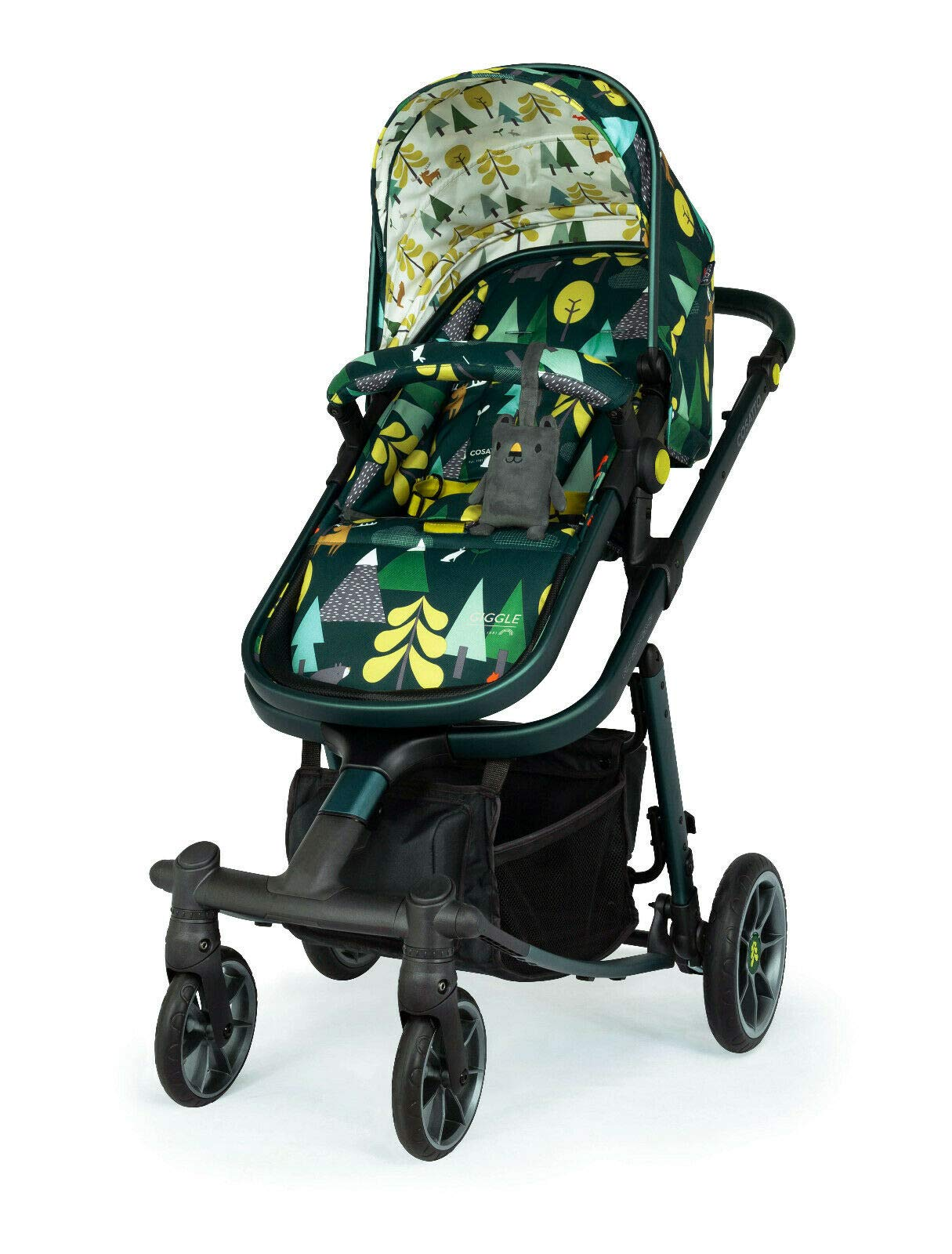 Cosatto Giggle Quad Pram & Pushchair Into The Wild Cosatto Enhanced performance. unique tyre material and all-round premium suspension give air-soft feel. Comfy all-round. spacious carrycot for growing babies.  washable liner. reversible reclining seat. Ultimate buy. tested up to a mighty 20kg for even longer use. big 3.5kg capacity basket for big shop 3
