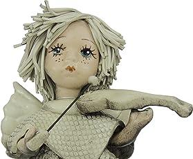Zampiva Engel mit Violine aus handgefertigter matter antikisierter Keramik