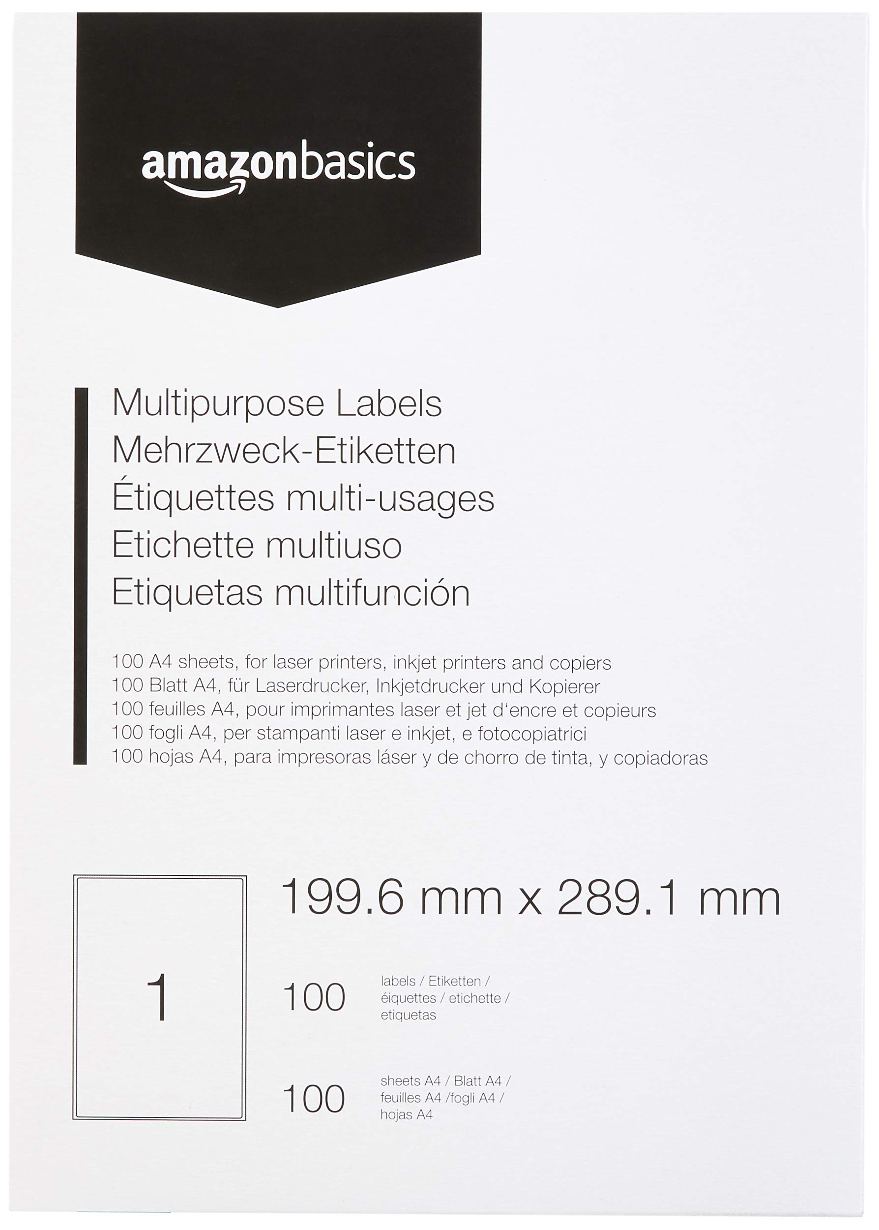 1 Label For Ink Laser Jet Printers and Copiers Packitsafe 1000 Sheets of 1 Label Per sheet A4 self adhesive Address Labels