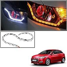 Vheelocityin Custom Car Crysal DRL Daytime Running Light with Orange Audi Style moving Indicators For Hyundai i20 Elite