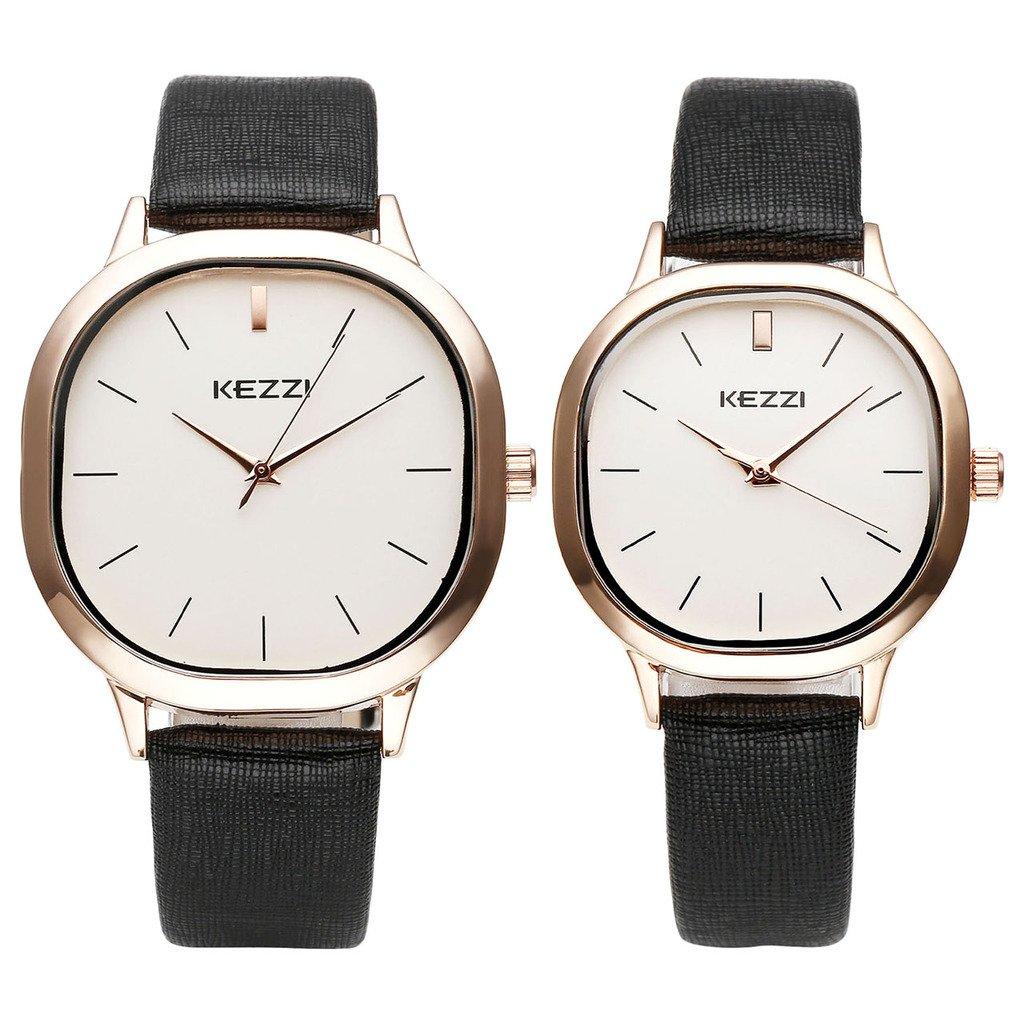 JSDDE Paaruhren Partner-Armbanduhr Quadra Rosegold Armbanduhr Analog Quarzuhr Mutter&Tochter Paar Uhren Set,Schwarz