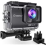 Crosstour Action Cam CT9500,Native 4K50FPS Super EIS Stabilizzata WiFi con 2 batterie 1350 mAh e Caricabatterie Grandangolo R
