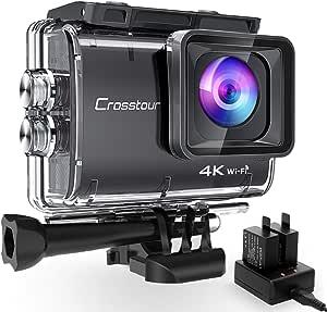 Crosstour Action Cam CT9500,Native 4K50FPS Super EIS Stabilizzata WiFi con 2 batterie 1350 mAh e Caricabatterie Grandangolo Regolabile 170 ° Impermeabile 40M Fotocamere subacque Videocamera