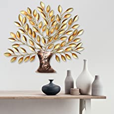 Collectible India Metal Decorative Golden Tree of Life Wall Decor and Hanging Mounted Art Sculpture Home Office (Size 16 x 16 inches)