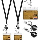 2 Sets Porte Badge Tour de Cou, Comprend Cordon de Laniere Tour de Cou, Porte Badge Enrouleur Rétractable et Porte Carte Tran