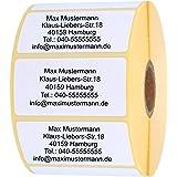 INDIGOS UG® Namensaufkleber - Adressetiketten - Etiketten - 40x22 mm - 100 Stück - weiß mit schwarz bedruckt - Haftpapier - W