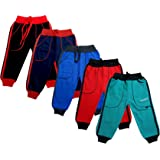 IndiWeaves Kids - Unisex Girls and Boys Fleece Warm Lowers Track Pants for Winters (Pack of 5)