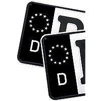 2 x Kennzeichen EU Feld Nummernschild Aufkleber Folie KFZ Schwarz (R059 .Deutschland)