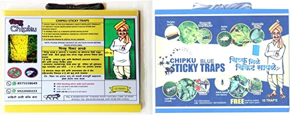Chipku Insect Killer Blue Sticky Trap Non Toxic and Chemical Free Fly Trap/Insect Catcher/Sticky Pads for Insects, Whiteflies, Aphids, Leaf Minor, Thriphs - (5 Blue + 5 Yellow Pieces)