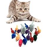 Juguetes para Gatos, PietyPet 16 piezas Peludo Ratones sonajero pequeño Ratón Gato Gatito Interactivo, Colores Variados