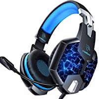 YINSAN PS4 Headset Gaming Headset for Xbox One, 3.5mm Wired 7 LED Lights Stereo Surround…