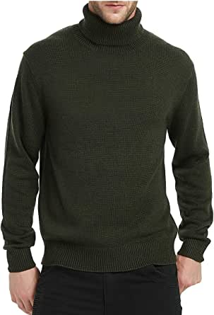 Kallspin Men's Merino Wool Blend Relax Fit Turtle Neck Sweater Jumper