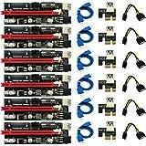 ACAMPTAR 6Pcs MáS Nuevo Ver009 USB 3.0 Pci-E Riser 009S Express 1X 4X 8X 16X Extender Riser Adaptador Tarjeta Sata 15Pin a 6