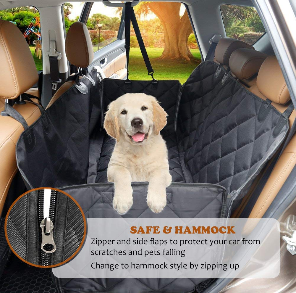 AMZPET Dog Car Seat Cover for Dogs, Waterproof with Door Protection, Durable Nonslip Scratch Proof Washable Pet Back Seat Cover. 3-in-1 Car Seat Protector, Boot Liner, Dog Travel Hammock for all Cars 2