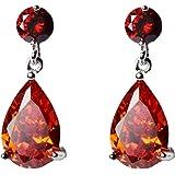 Lacrima Orecchini pendenti con Arancione Rosso Cristalli austriaci di zirconi 18 kt placcato oro bianco