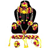 Savya Jewels Yellow and Pink Fabric Flower Jewellery Necklace 2 with Maang Tika and Earrings, Bracelets for Women Girls Set o