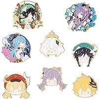 AKlamater Genshin Impact Badge Brooch, Anime Genshin Impact Peripheral Cartoon Spille in metallo con bottoni a pressione…