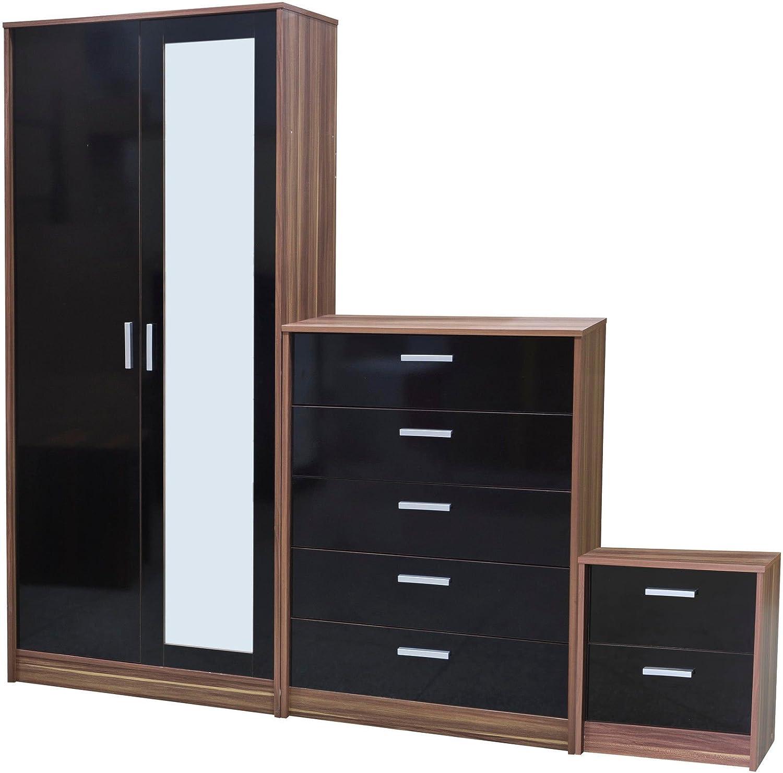 Direct Furniture Khabat Door Mirrored Wardrobe And Drawer - Black gloss chest of drawers