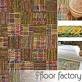 Alfombra moderna Mandalay verde 130x190 cm - alfombra de tejido plano patchwork